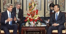 U.S. Secretary of State John Kerry (L) and Chinese State Councilor Yang Jiechi deliver remarks at the Diaoyutai State Guesthouse in Beijing April 13, 2013. REUTERS/Paul J. Richards/Pool